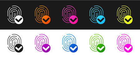 Set Fingerprint icon isolated on black and white background. ID app icon. Identification sign. Touch id. Vector
