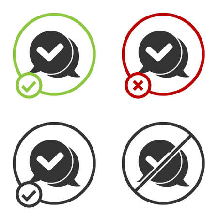 Black Check mark in speech bubble icon isolated on white background. Security, safety, protection, privacy concept. Tick mark approved. Circle button. Vector