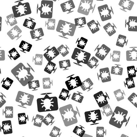 Black System bug concept icon isolated seamless pattern on white background. Code bug concept. Bug in the system. Bug searching. Vector Vettoriali