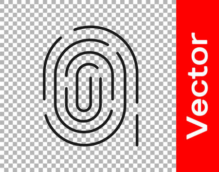 Black Fingerprint icon isolated on transparent background. ID app icon. Identification sign. Touch id. Vector Vettoriali