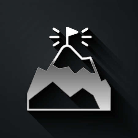 Silver Mountains with flag on top icon isolated on black background. Symbol of victory or success concept. Goal achievement. Long shadow style. Vector