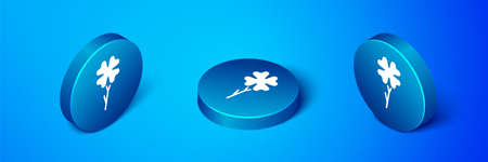 Isometric Four leaf clover icon isolated on blue background. Happy Saint Patrick day. Blue circle button. Vector 일러스트