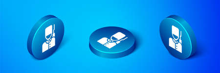 Isometric British guardsman with bearskin hat marching icon isolated on blue background. Blue circle button. Vector