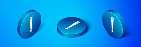 Isometric Police rubber baton icon isolated on blue background. Rubber truncheon. Police Bat. Police equipment. Blue circle button. Vector