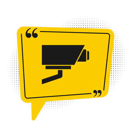 Black Security camera icon isolated on white background. Yellow speech bubble symbol. Vector