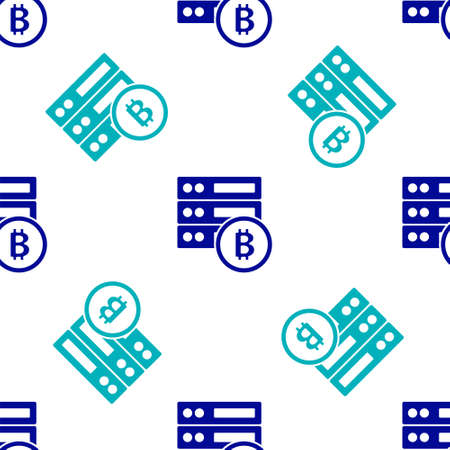 Blue Server bitcoin icon isolated seamless pattern on white background. Vector Vettoriali