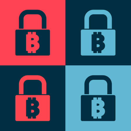 Pop art Lock with bitcoin icon isolated on color background. Cryptocurrency mining, blockchain technology, security, protect, digital money. Vector