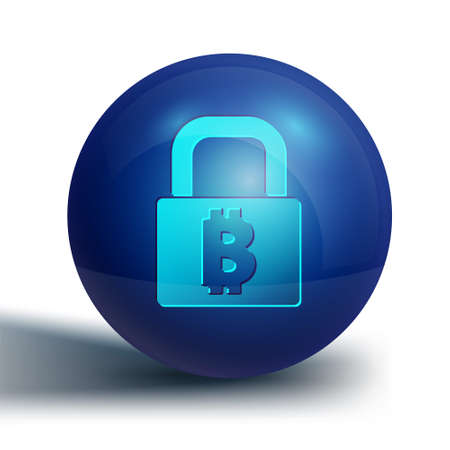 Blue Lock with bitcoin icon isolated on white background. Cryptocurrency mining, blockchain technology, security, protect, digital money. Blue circle button. Vector