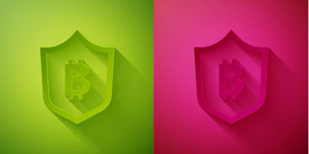 Paper cut Shield with bitcoin icon isolated on green and pink background. Cryptocurrency mining, blockchain technology, security, protect, digital money. Paper art style. Vector
