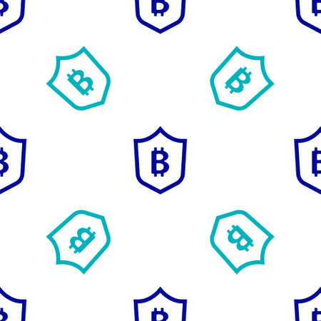 Shield with bitcoin icon isolated seamless pattern on white background. Cryptocurrency mining, blockchain technology, security, protect, digital money. Vector Vettoriali