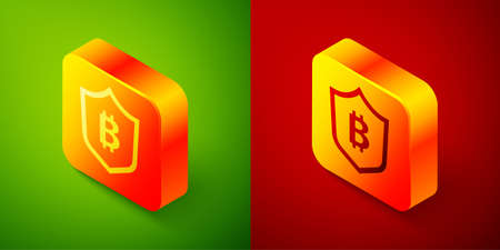 Isometric Shield with bitcoin icon isolated on green and red background. Cryptocurrency mining, blockchain technology, security, protect, digital money. Square button. Vector