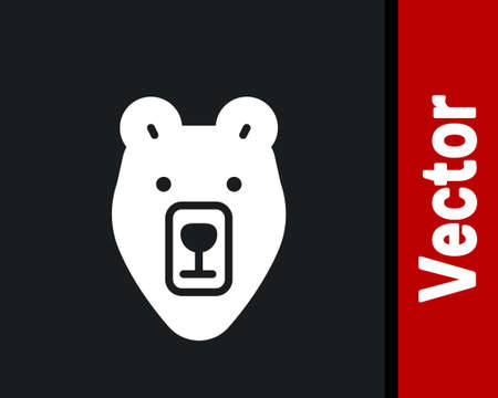 White Bear head icon isolated on black background. Vector
