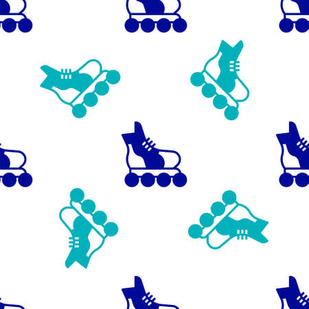 Blue Roller skate icon isolated seamless pattern on white background. Vector