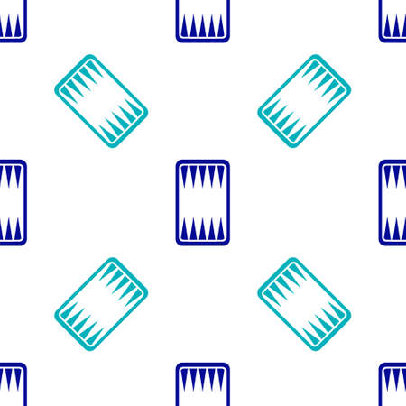 Blue Backgammon board icon isolated seamless pattern on white background. Vector