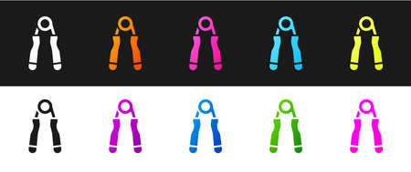 Set Sport expander icon isolated on black and white background. Sport equipment. Vector