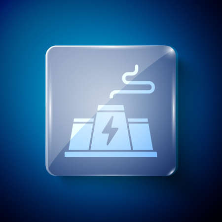 White Power station plant and factory icon isolated on blue background. Energy industrial concept. Square glass panels. Vector