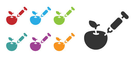 Black Genetically modified apple icon isolated on white background. GMO fruit. Syringe being injected to apple. Set icons colorful. Vector