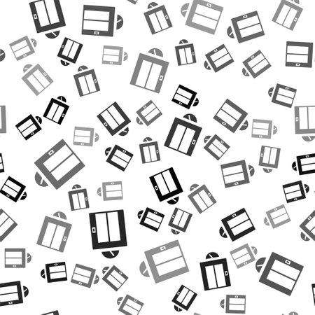 Black Lift icon isolated seamless pattern on white background. Elevator symbol. Vector Ilustrace