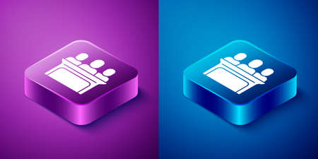 Isometric Jurors icon isolated on blue and purple background. Square button. Vector