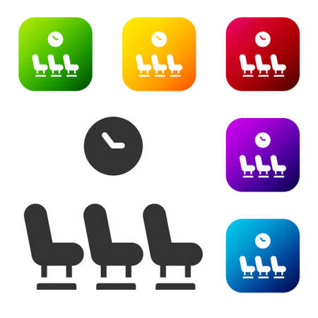 Black Waiting room icon isolated on white background. Set icons in color square buttons. Vector Ilustrace