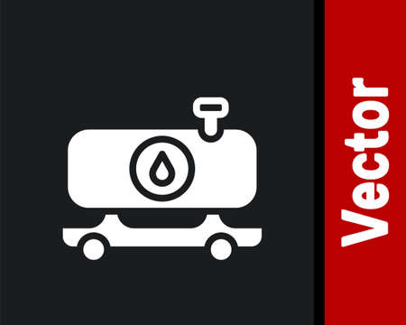 White Fuel tanker truck icon isolated on black background. Gasoline tanker. Vector