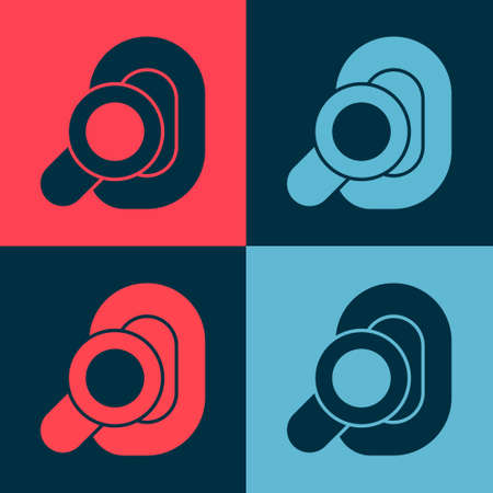 Pop art Hearing aid icon isolated on color background. Hearing and ear. Vector