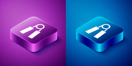 Isometric Sport expander icon isolated on blue and purple background. Sport equipment. Square button. Vector