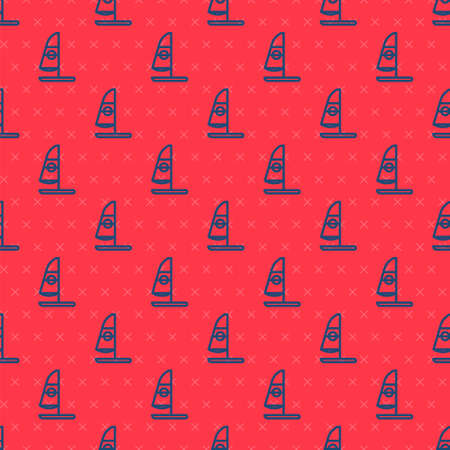 Blue line Windsurfing icon isolated seamless pattern on red background. Vector Illustration