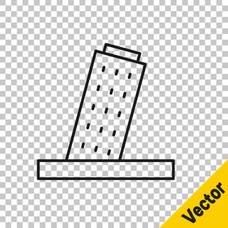 Black line Leaning Tower in Pisa icon isolated on transparent background. Italy symbol. Vector Vector Illustration