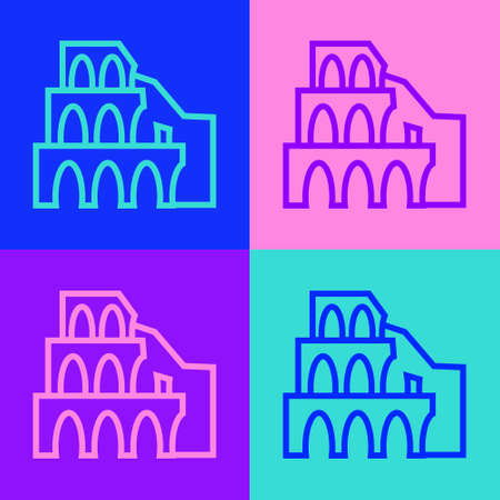 Pop art line Coliseum in Rome, Italy icon isolated on color background. Colosseum sign. Symbol of Ancient Rome, gladiator fights. Vector