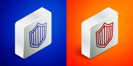 Isometric line Shield icon isolated on blue and orange background. Guard sign. Security, safety, protection, privacy concept. Silver square button. Vector Vettoriali