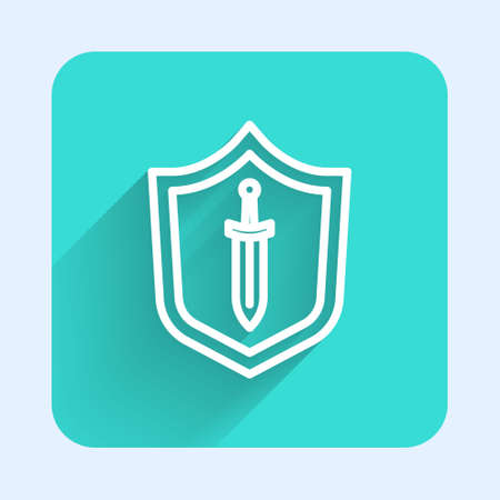 White line Medieval shield with sword icon isolated with long shadow. Green square button. Vector