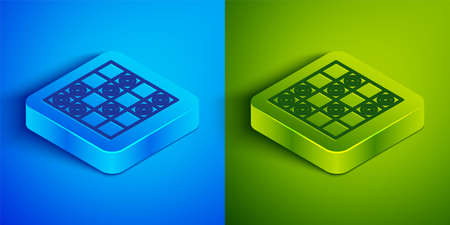 Isometric line Board game of checkers icon isolated on blue and green background. Ancient Intellectual board game. Chess board. White and black chips. Square button. Vector