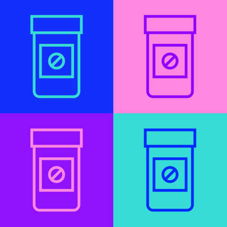 Pop art line Sports doping, anabolic drugs icon isolated on color background. Anabolic steroids tablet. Pills in jar. Vector Ilustración de vector