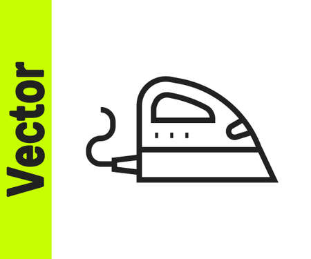 Black line Electric iron icon isolated on white background. Steam iron. Vector Vecteurs