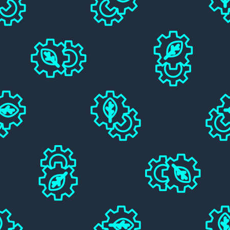 Green line Leaf plant ecology in gear machine icon isolated seamless pattern on blue background. Eco friendly technology. World Environment day label. Vector