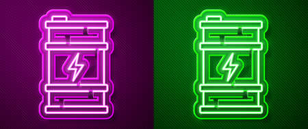 Glowing neon line Bio fuel barrel icon isolated on purple and green background. Eco bio and canister. Green environment and recycle. Vector 일러스트