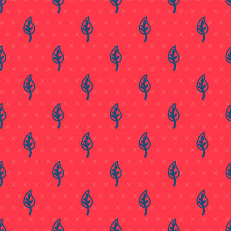 Blue line Leaf icon isolated seamless pattern on red background. Leaves sign. Fresh natural product symbol. Vector