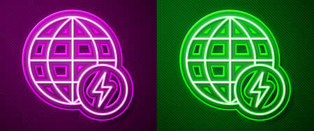 Glowing neon line Global energy power planet with flash thunderbolt icon isolated on purple and green background. Ecology concept and environmental. Vector