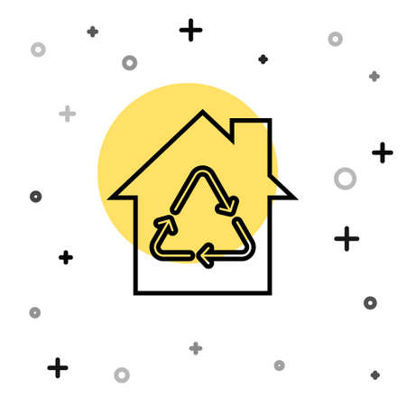 Black line Eco House with recycling symbol icon isolated on white background. Ecology home with recycle arrows. Random dynamic shapes. Vector