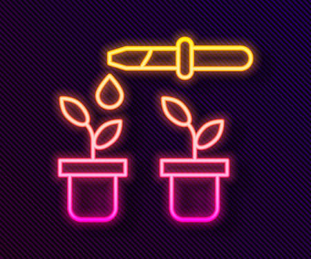 Glowing neon line Drop of water drops from pipette on plant icon isolated on black background. Medical or agricultural experiments. Fertilizers and pesticides. Vector