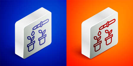 Isometric line Drop of water drops from pipette on plant icon isolated on blue and orange background. Medical or agricultural experiments. Fertilizers and pesticides. Silver square button. Vector