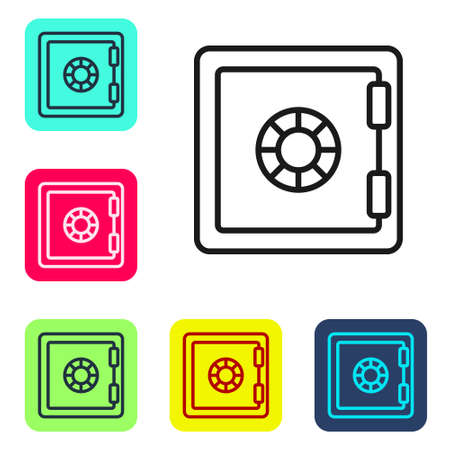 Black line Safe icon isolated on white background. The door safe a bank vault with a combination lock. Reliable Data Protection. Set icons in color square buttons. Vector
