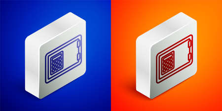 Isometric line Safe icon isolated on blue and orange background. The door safe a bank vault with a combination lock. Reliable Data Protection. Silver square button. Vector