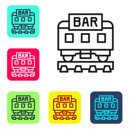 Black line Restaurant train icon isolated on white background. Set icons in color square buttons. Vector