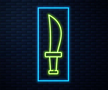 Glowing neon line Pirate sword icon isolated on brick wall background. Sabre sign. Vector