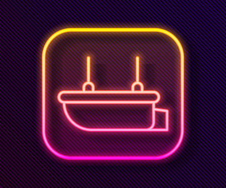Glowing neon line Lifeboat icon isolated on black background. Vector Vettoriali