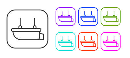 Black line Lifeboat icon isolated on white background. Set icons colorful. Vector