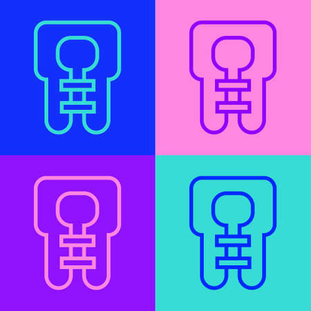 Pop art line Life jacket icon isolated on color background. Life vest icon. Extreme sport. Sport equipment. Vector Vettoriali