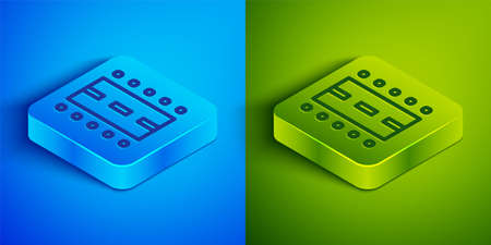 Isometric line Airport runway for taking off and landing aircrafts icon isolated on blue and green background. Square button. Vector Иллюстрация
